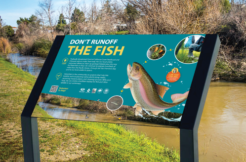 Campbell-Los Gatos Creek Trail Don't Runoff the Fish Sign